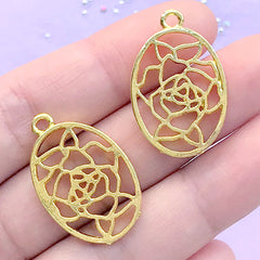 Oval Rose Tag Open Bezel for UV Resin Filling | Vintage Flower Deco Frame | Resin Jewelry Making (2 pcs / Gold / 18mm x 28mm)