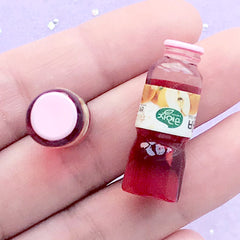 3D Doll House Korean Fruit Juice | 1:12 Scale Dollhouse Beverage | Miniature Drink Bottle | Kawaii Craft (2pcs / Red Pear / 10mm x 29mm)