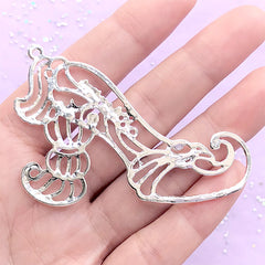 Kawaii Princess High Heel Open Bezel Charm | Fairytale Deco Frame for UV Resin Filling | Kawaii Jewellery DIY (1 piece / Silver / 62mm x 45mm)