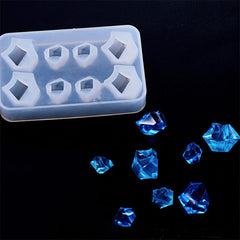 Assorted Gemstone Silicone Mold (8 Cavity) | Faceted Gem Mold | Clear Mold for UV Resin | Epoxy Resin Mould | Kawaii Jewelry Making