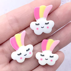 Rainbow and Cloud Sugar Cookie Cabochons | Kawaii Resin Decoden Pieces | Fake Sweets Jewelry DIY (3 pcs / 18mm x 21mm)