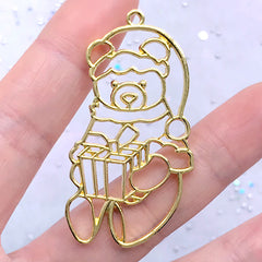 Bear Santa Claus Open Bezel Pendant | Kawaii Christmas Open Frame Charm for UV Resin Filling (1 piece / Gold / 28mm x 50mm)