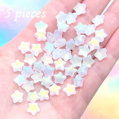 Iridescent Matte Star Beads | Rainbow Glass Bead | Kawaii Jewelry DIY (AB Clear / 5 pcs / 8mm)