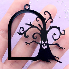 Scary Tree Acrylic Open Bezel Charm | Halloween Deco Frame Pendant | UV Resin Jewelry Supplies (1 piece / Black / 50mm x 49mm / 2 Sided)
