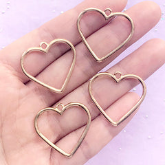 Hollow Heart Charm | Open Bezel for UV Resin Jewellery DIY | Outlined Heart Pendant | Kawaii Deco Frame (4 pcs / Gold / 27mm x 25mm)
