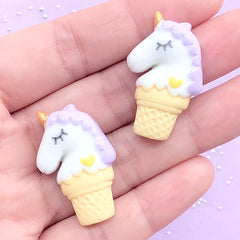 Unicorn Ice Cream Cone Cabochons | Sugar Cookie Decoden Cabochon | Sweet Deco | Kawaii Resin Embellishments (2 pcs / Purple / 20mm x 31mm)