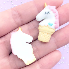 Unicorn Ice Cream Cabochon | Kawaii Decoden Supplies | Cute Resin Flatback | Slime Craft (2 pcs / Pink / 20mm x 31mm)