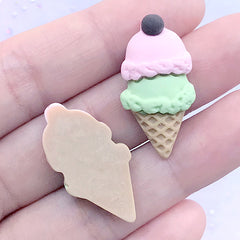 Ice Cream Decoden Cabochons | Kawaii Resin Embellishments | Fake Sweet Jewellery DIY | Phone Case Deco (2 pcs / Pink Green / 15mm x 29mm)