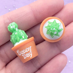 3D Cactus Cabochons | Potted Plant Embellishments | Whimsical Jewelry Supplies | Resin Decoden Pieces (2 pcs / 17mm x 28mm)