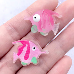 Tropical Fish Cabochons | Marine Life Decoden Cabochon | Cute Hair Bow Centerpieces | Toddler Jewelry Supplies (3 pcs / 26mm x 19mm)