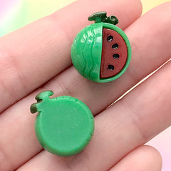 Small Watermelon Fruit Cabochons | Cute Hair Bow Center | Kawaii Jewelry Supplies (3 pcs / 16mm x 18mm)