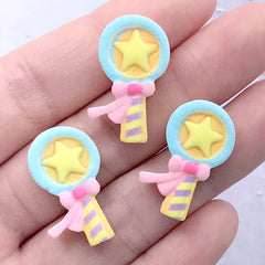 Star Wand Sugar Cookie Cabochons | Miniature Sweets | Kawaii Food Jewelry Supplies (3 pcs / 15mm x 24mm)