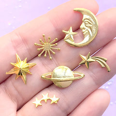Astronomy Embellishment Assortment for UV Resin Art | Moon Shooting Star Northern Star Planet Saturn Resin Inclusions (6 pcs / Gold)