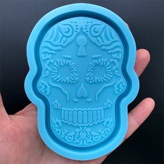 Calavera Trinket Dish Silicone Mold | Sugar Skull Tray Mould | Day of the Death Home Decor | Mexican Halloween Decoration | Resin Crafts (72mm x 101mm)