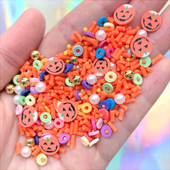 Fake Halloween Sprinkles and Sugar Strands | Polymer Clay Pumpkin Slices | Faux Sugar Pearls and Dragee Toppings (10 grams)
