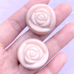 Strawberry Milk Chocolate Cabochon in Flower Shape | Fake Chocolate Truffle Embellishments | Kawaii Decoden Pieces (2 pcs / Light Pink / 28mm x 15mm)