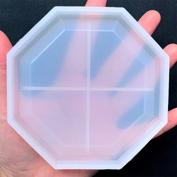 Octagon Trinket Tray Silicone Mold | Petri Plate Mould | Small Dish for Jewelry DIY | Resin Art Supplies (106mm)