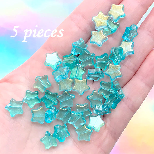 Star Beads | Small Glass Bead | Kawaii Bracelet DIY | Cute Jewelry Supplies (Blue Green Gold / 5 pcs / 10mm x 9mm)