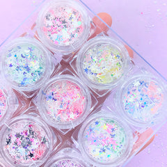 Kawaii Glitter Confetti Assortment in Star Moon and Bar Shapes | Cute Iridescent Sprinkles | Magical Girl Resin Art | Mahou Kei Nail Deco (Set of 12)