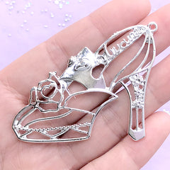 Silver High Heel with Rose Open Bezel Charm | Flower Shoe Deco Frame | UV Resin Jewellery Supplies (1 piece / Silver / 58mm x 45mm)