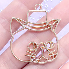 Gentleman Cat with Hat Open Bezel Pendant for UV Resin Filling | Animal Open Frame | Kawaii Resin Jewellery Supplies (1 piece / Gold / 34mm x 41mm)