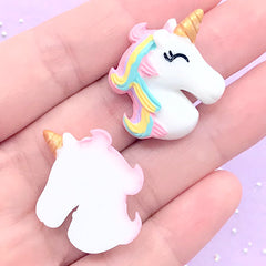 Cute Rainbow Unicorn Cabochons | Kawaii Slime DIY | Resin Embellishments | Magical Girl Decoden Supplies (2 pcs / 24mm x 28mm)