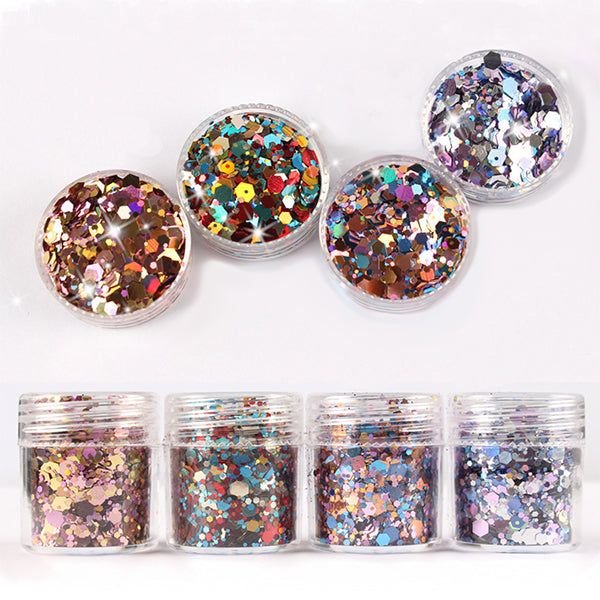 Colorful Chunky Hexagon Glitter Mix in Festive Color (4 pcs) | Iridescent Sprinkles | Rainbow Confetti Flakes | Bling Bling Embellishment for Resin Art (1-3mm)