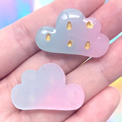 Kawaii Rain Cloud Decoden Cabochons | Cute Hair Bow Center | Phone Case Deco | Toddler Jewelry DIY (3 pcs / 31mm x 20mm)