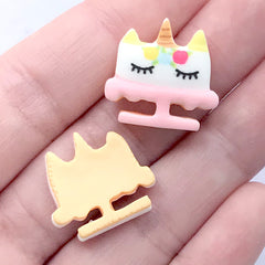 Unicorn Cake Sugar Cookie Cabochons | Miniature Sweets Supplies | Doll House Food Craft | Kawaii Jewelry Making (3 pcs / 20mm x 18mm)