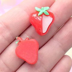 Small Strawberry Cabochon | Kawaii Fruit Embellishments | Stud Earring DIY | Decoden Supplies (3 pcs / 15mm x 20mm)