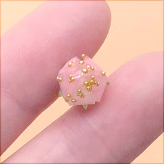 Mini Flower Bud Charm with Sprinkles | Shrink Plastic Rose Bud in 3D | Whimsical Floral Jewelry DIY (1 Piece / Pink / 9mm x 15mm)