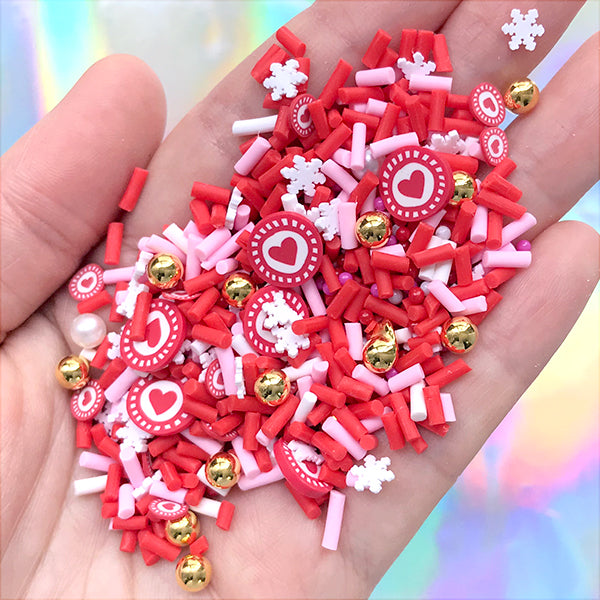 Christmas Polymer Clay Sprinkles and Sugar Pearls for Fake Food Craft | Faux Sugar Strands Toppings for Sweets Deco (Mix / 10 grams)