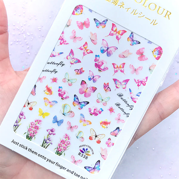 Pink Butterfly and Flower Nail Art Sticker | Spring Nail Deco | Filling Material for Resin Crafts