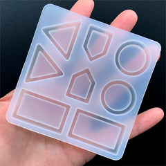 Geometry Bezel Tray Silicone Mold (8 Cavity) | Small Geometric Shaker Charm Mould | Resin Jewelry DIY | Resin Art Supplies