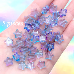 Galaxy Gradient Star Bead | Kawaii Glass Beads | Bracelet DIY | Cute Jewelry Making (Blue Purple / 5 pcs / 10mm x 9mm)