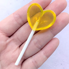 Lollipop Cabochon in Heart Shape | Faux Candy | Fake Food Jewellery DIY | Kawaii Decode Phone Case Making (1 piece / Yellow / 30mm x 66mm)
