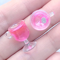 Resin Fruit Punch Charm | Miniature Food Jewelry Making | 3D Dollhouse Beverage | Kawaii Doll Drink Cabochon (2 pcs / Dragon Fruit / 12mm x 18mm)