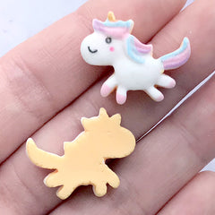 Dollhouse Unicorn Sugar Cookie Resin Cabochons | Mini Food Craft | Fake Dessert Jewelry Making (3 pcs / 23mm x 19mm)