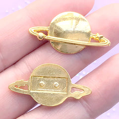 Saturn Planet Embellishments for UV Resin Art | Metal Resin Inclusions | Kawaii Astronomy Jewelry DIY (2 pcs / Gold / 28mm x 15mm)