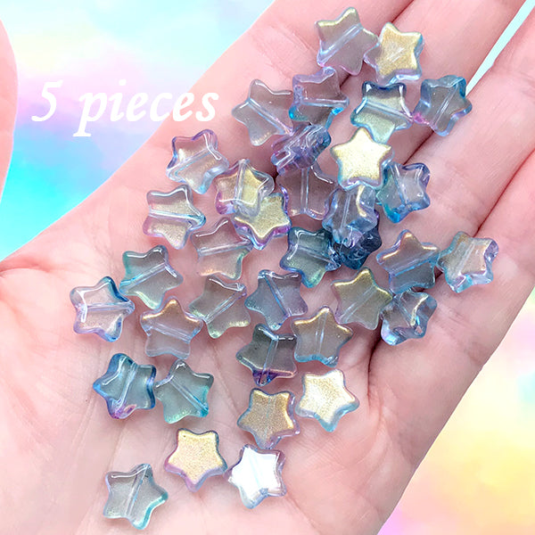 Small Star Beads in Galaxy Gradient Color | Cute Glass Bead | Kawaii Jewelry Supplies (Blue Purple Gold / 5 pcs / 10mm x 9mm)