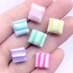 Colorful Peppermint Cabochon in Actual Size | Faux Candy | Polymer Clay Food | Sweet Deco | Kawaii Decoden (6 pcs / Mix / 12mm x 10mm)