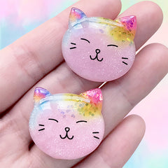 Kawaii Cat Cabochons | Animal Embellishments | Decoden Phone Case Supplies (2 pcs / Pink / 27mm x 25mm)