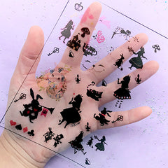 DEFECT Alice in Wonderland Fairytale Clear Film for UV Resin Art | Kawaii Embellishments | Resin Inclusions | Resin Fillers