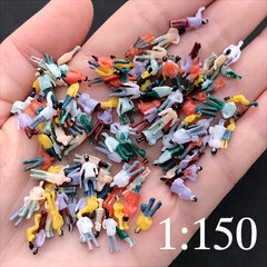Diorama Figures at 1:150 | Miniature People | Tiny Human Figurines | Little People | Terrarium Jewelry Making (10pcs by RANDOM / Painted)