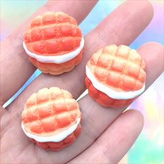 Melon Bread Cabochons | Miniature Melonpan | Sweet Deco | Fake Food Embellishments | Kawaii Decoden (3 pcs / 23mm)