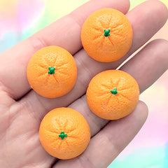 Half Orange Decoden Cabochons | Citric Fruit Embellishment | Kawaii Food Jewellery DIY | Sweets Deco (4 pcs / 21mm x 10mm)
