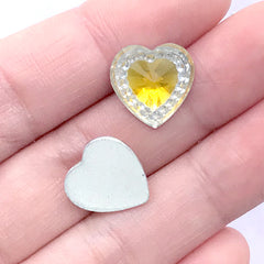 Kawaii Heart Rhinestones | Magical Girl Jewelry Making | Phone Case Decoden Supplies (12 pcs / Yellow / 14mm x 14mm)