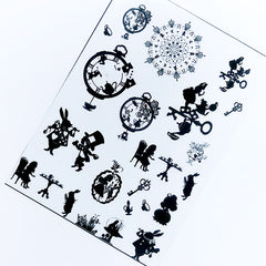 Alice in Wonderland Silhouette Clear Film | Kawaii Fairytale Embellishments for UV Resin Craft | Cute Resin Inclusions