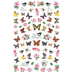 Butterfly and Flower Sticker | Floral Nail Decorations | Insect Stickers | Filling Materials for Resin Art