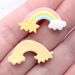 Dollhouse Rainbow Sugar Cookie Cabochons | Miniature Sweet Deco | Decoden Phone Case | Kawaii Jewellery Supplies (3 pcs / 25mm x 13mm)
